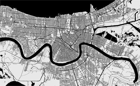 Mapa de vectores de la ciudad de Nueva Orleans, Luisiana, EE.