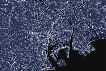 Vektorkarte der Stadt Tokio, Kanto, Insel Honshu, Japan
