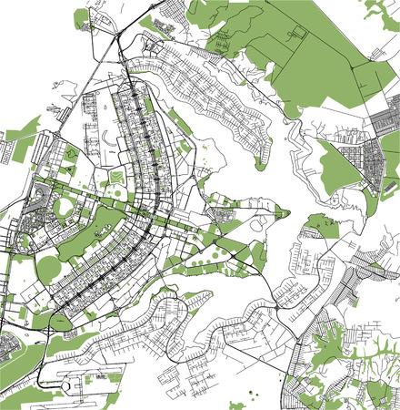 carte vectorielle de la ville de Brasilia, capitale du Brésil