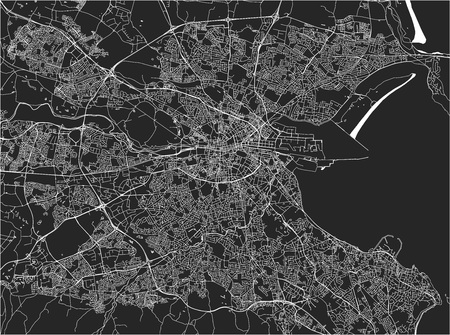Vector map of the city of Dublin, Ireland