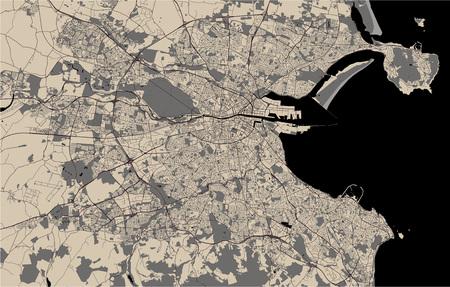 Vector map of the city of Dublin, Ireland