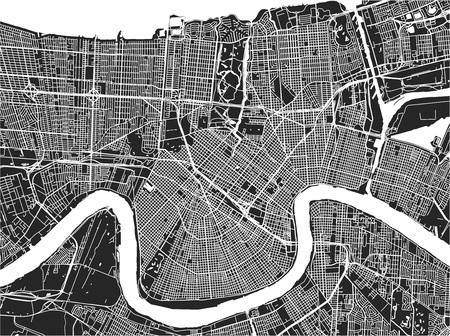 Mapa de vectores de la ciudad de Nueva Orleans, Luisiana, EE. Ilustración de vector