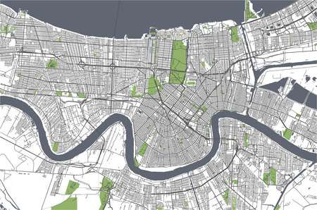 vector map of the city of New Orleans, Louisiana, USA