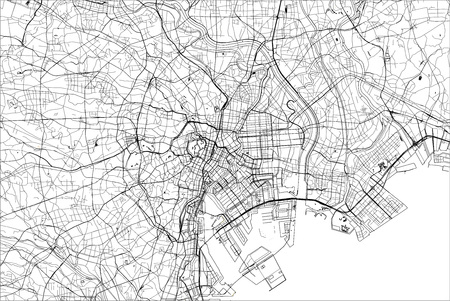 vector map of the city of Tokyo, Kanto, Island Honshu, Japan