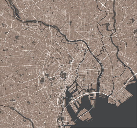 vector map of the city of Tokyo, Kanto, Island Honshu, Japan