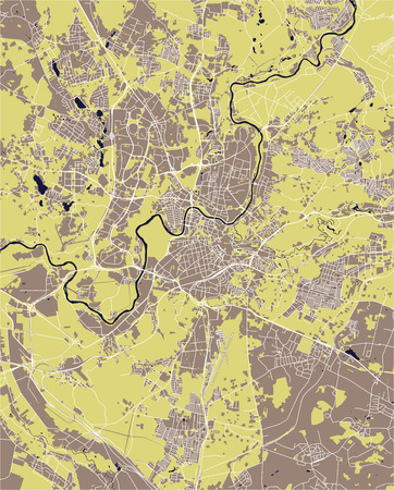 vector map of the city of Vilnius, Lithuania