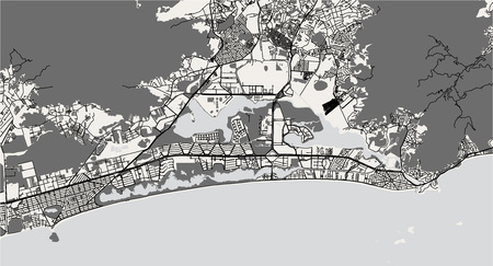 vector map of the city of Rio de Janeiro, Southeast, Brazil