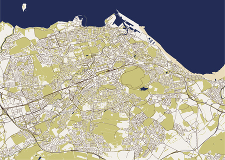 vector map of the city of Edinburgh, Scotland, United Kingdom