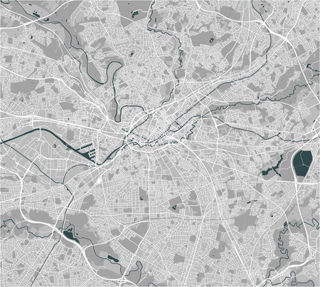 vector map of the city of Manchester, England, Great Britain