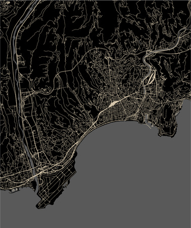 vector map of the city of Nice, Provence-Alpes-Cote dAzur, Alpes-Maritimes, French Riviera, France 矢量图像