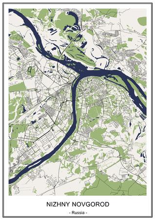 vector map of the city of Nizhny Novgorod, Russia