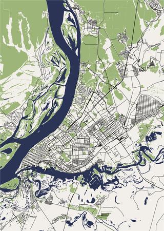 vector map of the city of Samara, Russia Vektoros illusztráció