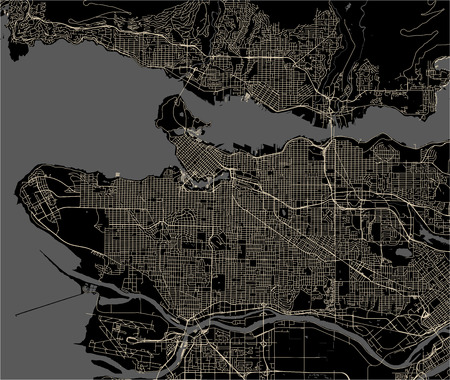 vector map of the city of Vancouver , Canada Çizim