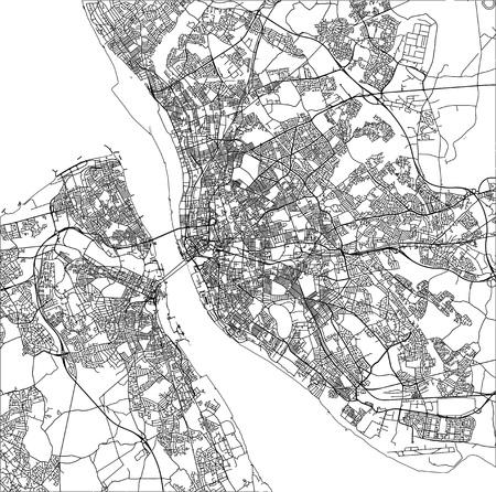 vector map of the city of Liverpool, Birkenhead, United Kingdom