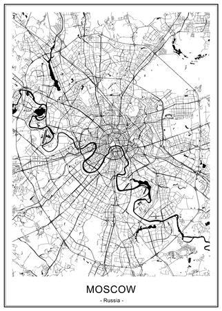 mapa de la ciudad de moscú, rusia Ilustración de vector