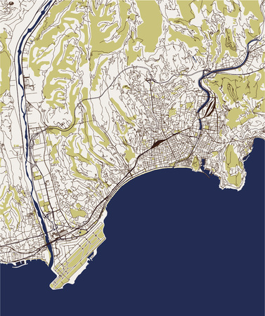 vector map of the city of Nice, Provence-Alpes-Cote dAzur, Alpes-Maritimes, French Riviera, France Illustration