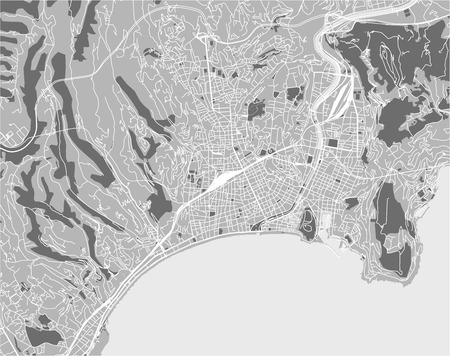 vector map of the city of Nice, Provence-Alpes-Cote dAzur, Alpes-Maritimes, French Riviera, France Иллюстрация
