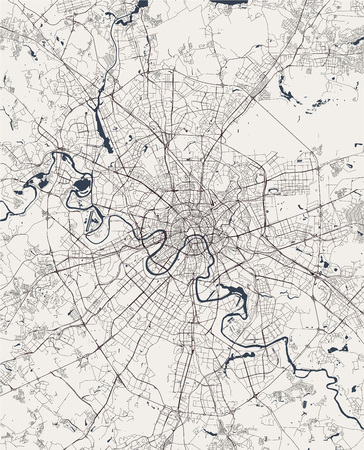 vector modern map of the city of Moscow, Russia