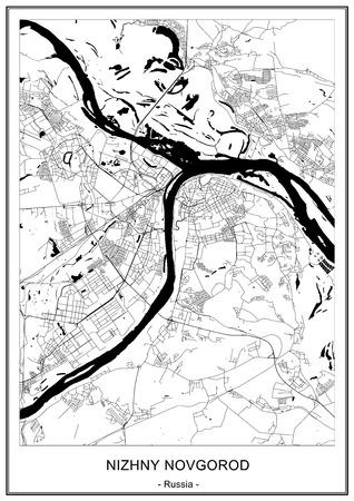 vector map of the city of Nizhny Novgorod, Russia Vektoros illusztráció