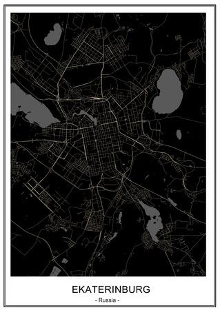 vector map of the city of Yekaterinburg, Sverdlovsk Oblast, Ural, Russia