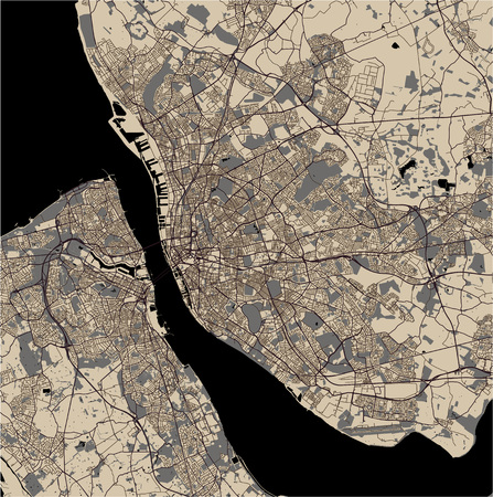 vector map of the city of Liverpool, Birkenhead, United Kingdom Imagens - 124973929