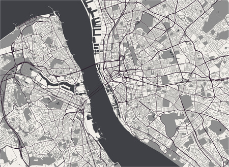 vector map of the city of Liverpool, Birkenhead, United Kingdom