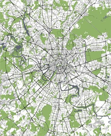 Vector mapa moderno de la ciudad de Moscú, Rusia