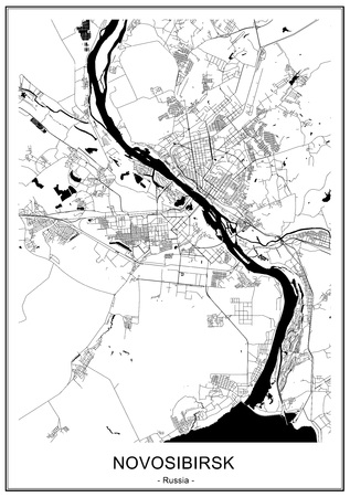 vector map of the city of Novosibirsk, Siberia, Russia