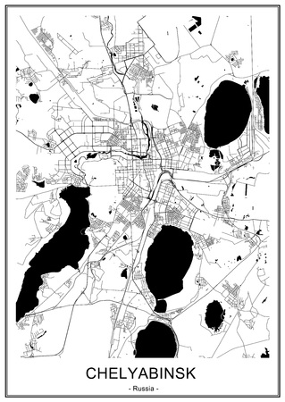 vector map of the city of Chelyabinsk, Russia Ilustrace