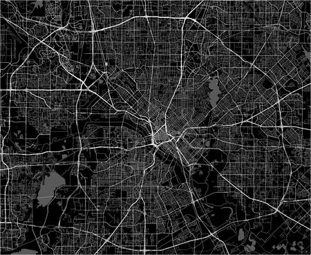 carte vectorielle de la ville de Dallas, Texas, USA