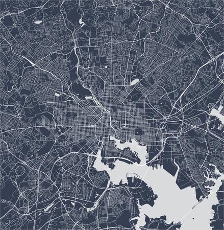 vectorkaart van de stad Baltimore, Maryland, VS Vector Illustratie
