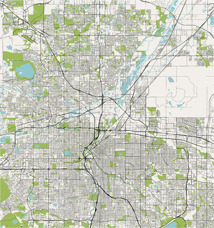 vector map of the city of Denver, Colorado, USA Illustration
