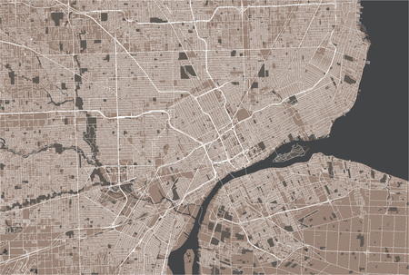 vector map of the city of Detroit, Michigan, USA