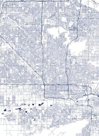 map of the city of Phoenix, Arizona, USA