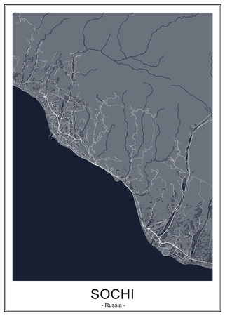 vector map of the city of Sochi, Russia 일러스트
