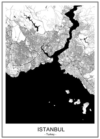 vector map of the city of Istanbul, Turkey