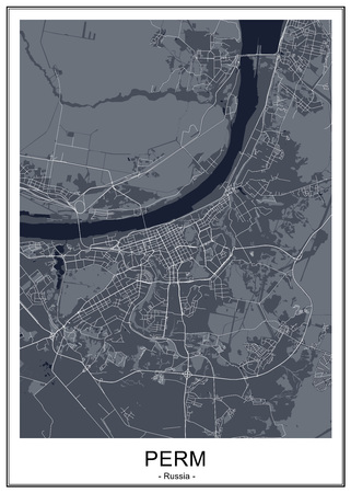 map of the city of Perm, Russia