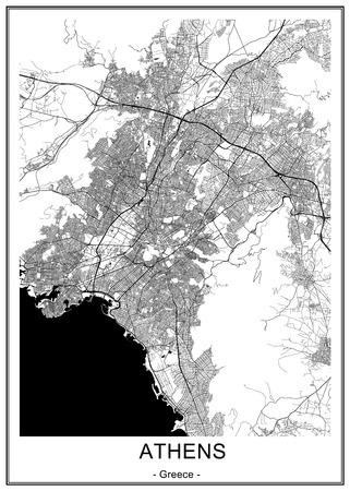 Karte der Stadt Athen, Griechenland