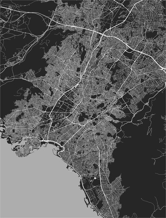 vector map of the city of Athens, Attica, Greece, Europe Illustration