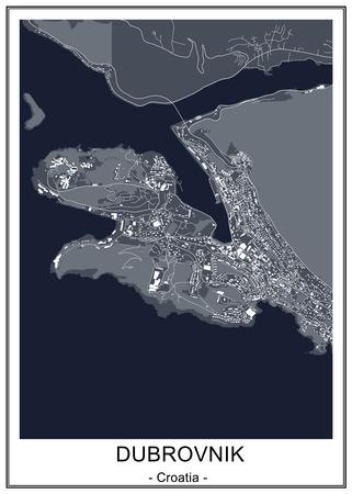 vector map of the city of Dubrovnik, Croatia Ilustração