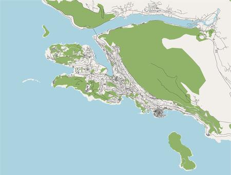 vector map of the city of Dubrovnik, Croatia Stock Illustratie