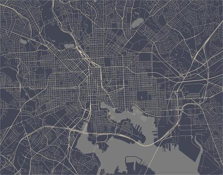 kaart van de stad Baltimore, Maryland, VS