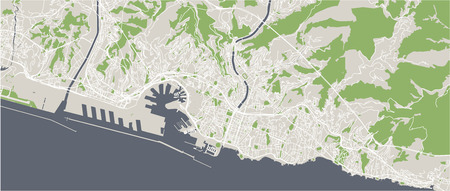 vector map of the city of Genova, Liguria, Italy, Europe