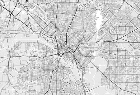Vektorkarte der Stadt Dallas, Texas, USA