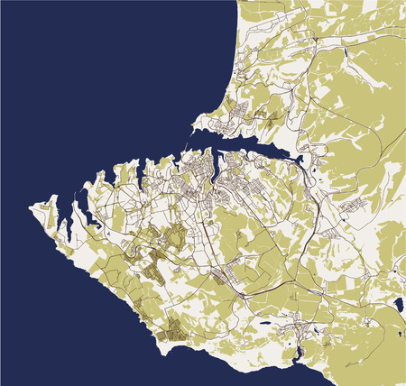 vector map of the city of Sevastopol, Crimea
