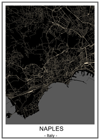 map of the city of Naples, Campania, Italy