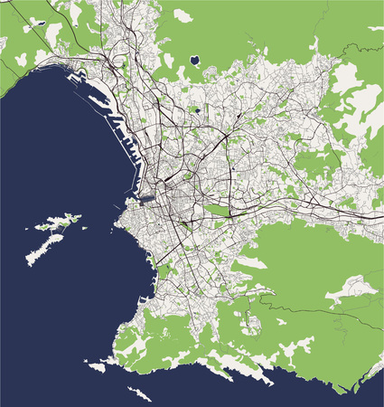vector map of the city of Marseille, France Vector Illustration