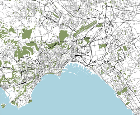 vector map of the city of Naples, Campania, Italy