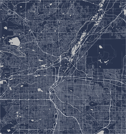 vector map of the city of Denver, Colorado, USA Ilustração