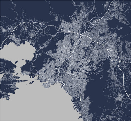 vector map of the city of Athens, Attica, Greece, Europe